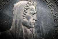 Portrait of William Tell from 5 Franc coin, Switzerland. Macro photo
