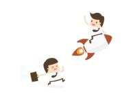 pria di roket meninggalkan pria di darat