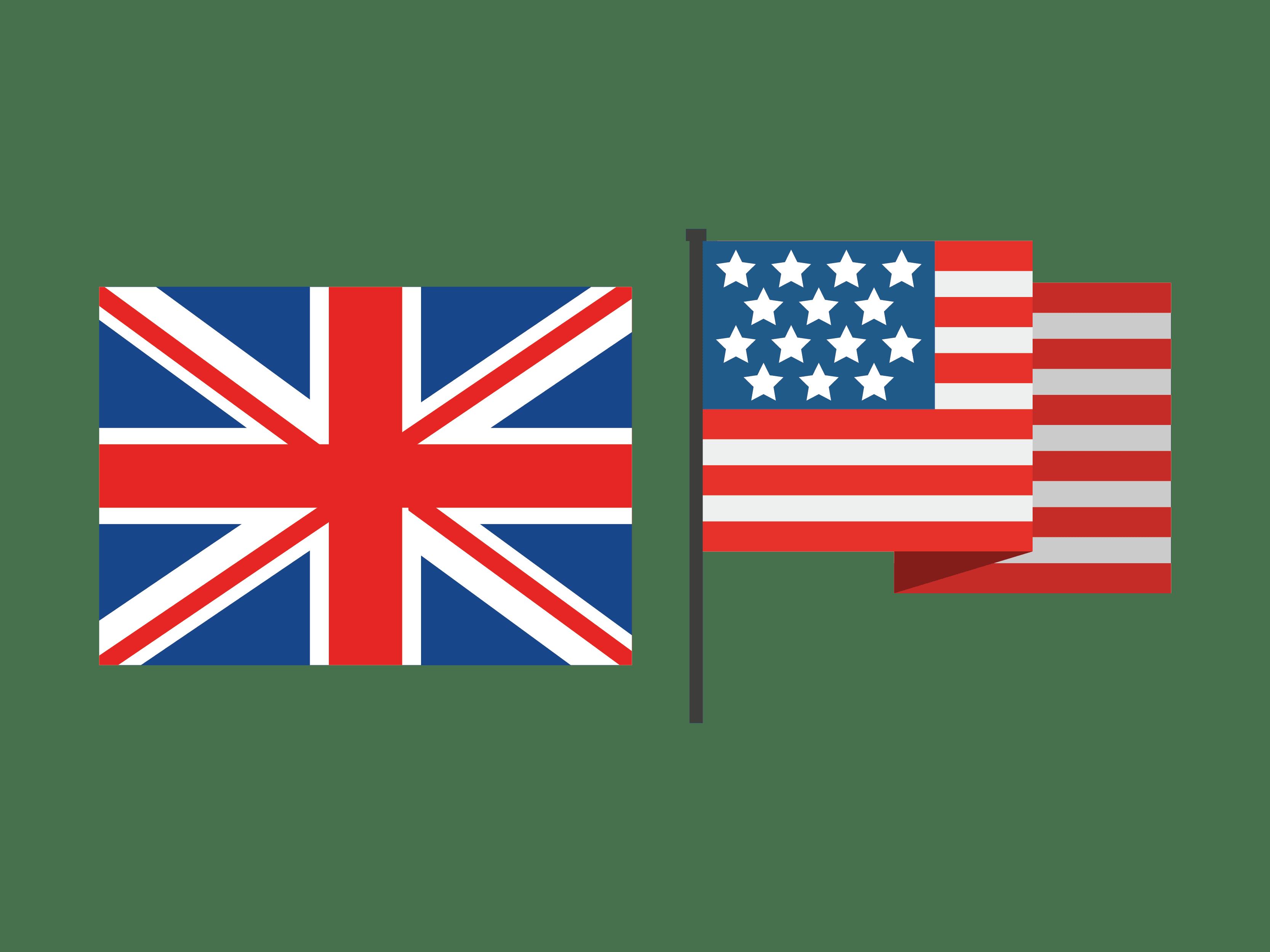bendera Inggris dan Amerika