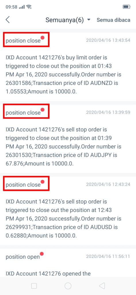 inbox di aplikasi smartphone untuk trading HSB Investasi
