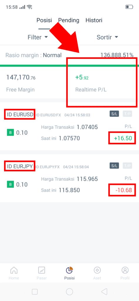 realtime profit atau loss di aplikasi HSB forex
